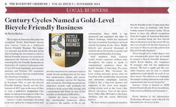 Scan of Nov. 2014 Rockport Observer article