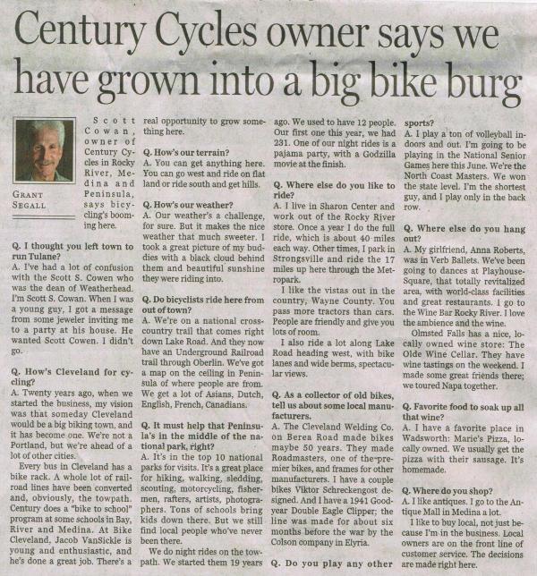 Scan of Cleveland Plain Dealer article of June 23, 2013 (part 2)