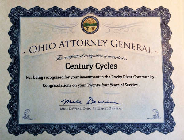 Certificate from the Ohio Attorney General