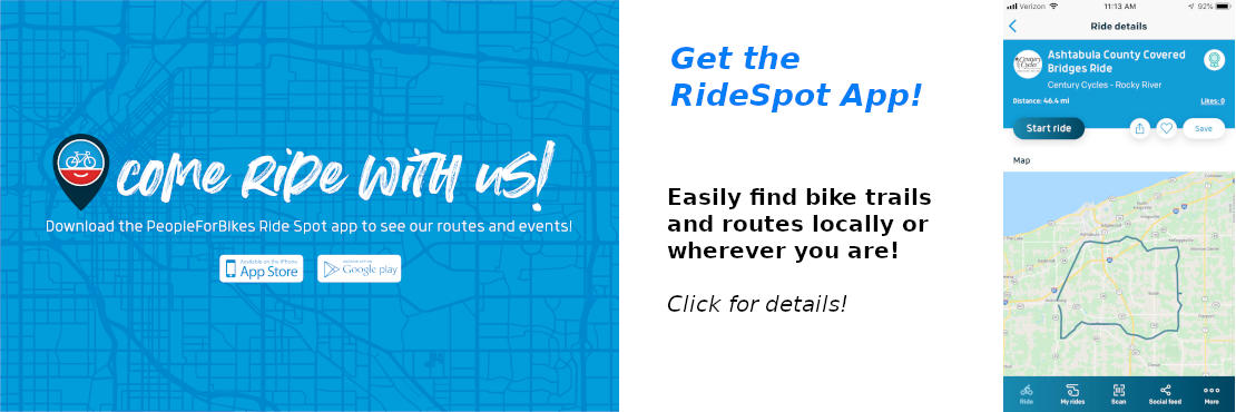 Get the RideSpot App! Easily find and follow bike trails and routes. Click for details!