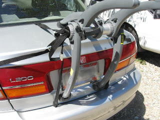 Car rack incorrectly positioned on rear of vehicle
