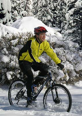 Mountain biker in the snow