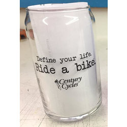 Century Cycles Define Your Life. Ride a Bike. Pint Glass