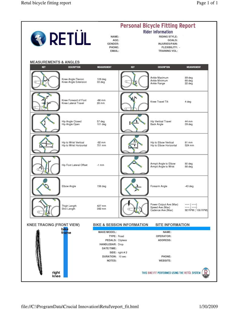 Retül motion capture LEDs custom bicycle fit at Grace Bicycles Retul sample output report