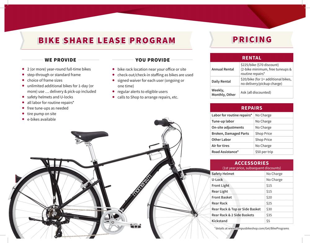 Campus Bike Shop Bike Share Lease Program Pricing