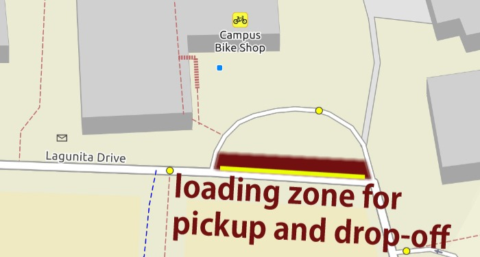 Map of drop-off and pickup loading zone,