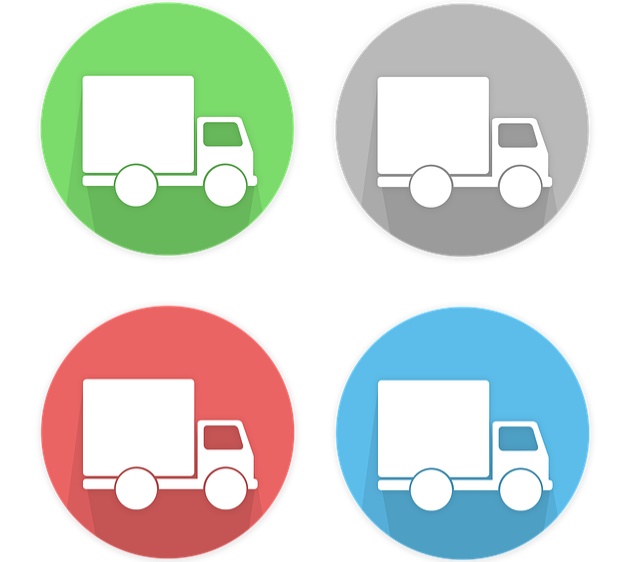 4 delivery truck icons.