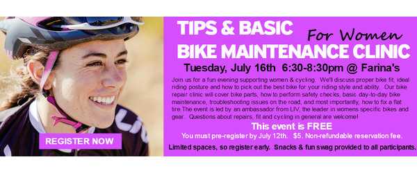 Farina's Reservation for Tips & Bike Maintenance Clinic for Women