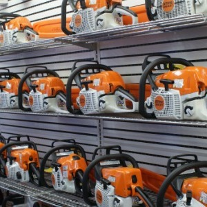 Stihl chainsaws on display