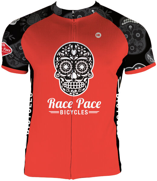 Race Pace Bicycles Men's Sugar Skull Jersey - Red