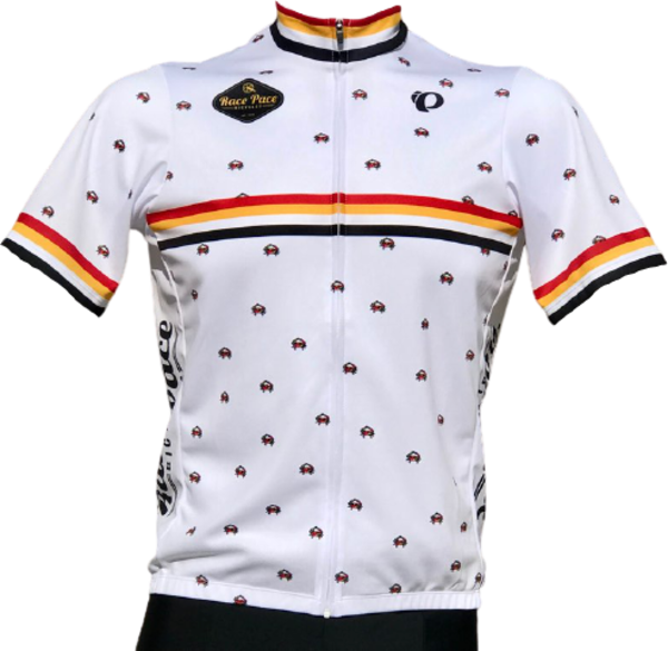Race Pace Bicycles Men's Race Pace Crab Jersey - White