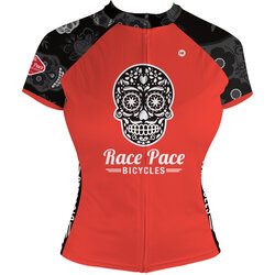 Race Pace Bicycles Women's Sugar Skull Jersey - Red