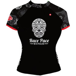 Race Pace Bicycles Women's Sugar Skull Jersey - Black